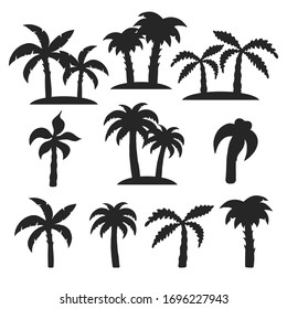Hand drawn tropical trees silhouette set. Palm, banana leaves. Vector isolated tropic pattern for summer design.
