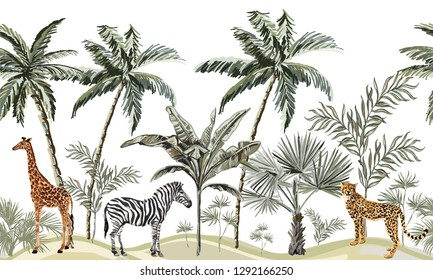 Hand drawn tropical vintage botanical landscape, palm tree, banana tree, giraffe, leopard, zebra, floral seamless pattern white background. Exotic green jungle animal wallpaper.