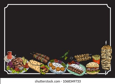 Hand drawn Turkish food on a chalkboard, Vector Illustration