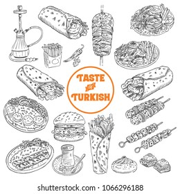 Hand drawn Turkish food, Vector Illustration