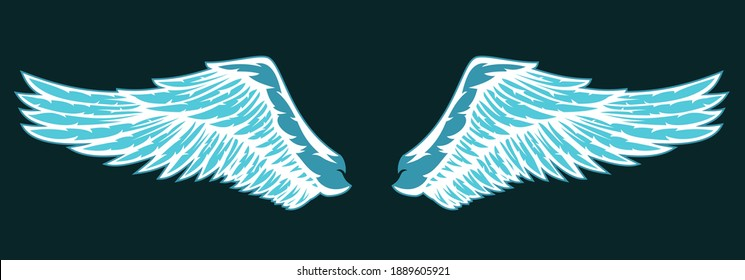 Hand drawn two blue wing with feathers isolated on dark background. Cartoon design element for tattoo, label, branding. Vintage vector illustration.