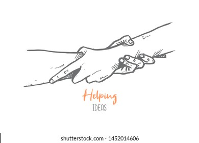Hand drawn of two person helping and holding hand each other. Teamwork hands gesture sketch concept vector illustration. Isolated design with white background.