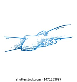 Hand drawn of two person helping and holding hand each other. Teamwork hands gesture sketch concept vector illustration. Isolated design with white background