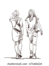 Hand drawn two walking women wearing high platform shoes, Vector sketch isolated on white background, View from back