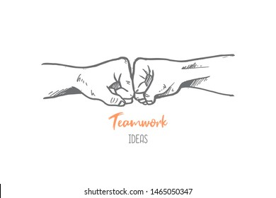 Hand drawn of two young person bumping fist finger. Team work, partnership, friendship, passion, spirit   hands gesture sketch concept vector illustration. Isolated design with white background