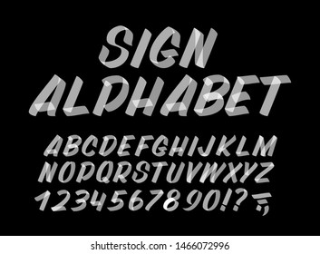 Hand drawn typeface on black background. Brush sign painted vector characters: lowercase and uppercase. Typography alphabet for your designs: logo, typeface, card