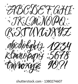 Hand drawn typeface. Painted vector characters: lowercase and uppercase. Typography alphabet for your designs: logo, typeface, card