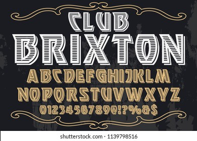 Hand drawn typeface set Brush painted characters lowercase and uppercase. Handwritten script font. Typography alphabet for your designs vintage club brixton