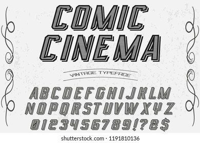 Hand drawn typeface set Brush painted characters lowercase and uppercase. Handwritten script font. Typography alphabet for your designs comic cinema