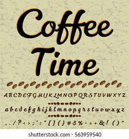 Hand drawn typeface set named  coffee time Brush painted characters  lowercase and uppercase  Handwritten script font Typography -alphabet- for your designs