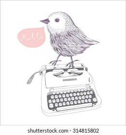 Hand drawn typewriter with bird cute line art painting illustration vintage.