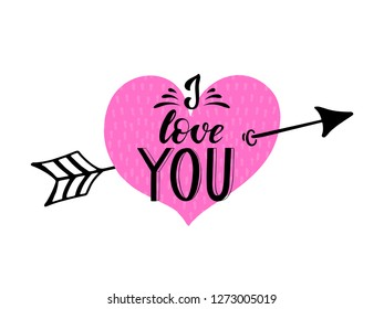 Hand drawn typography lettering phrase I Love You. Ink brush lettering for 14th February greeting card. Vector calligraphy text, logo, illustration for February 14. Romantic Valentine Lettering.