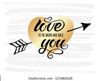 Hand drawn typography lettering phrase Love You. Ink brush lettering for 14th February greeting card or wedding. Vector calligraphy text, logo, illustration for celebration. Romantic Lettering.