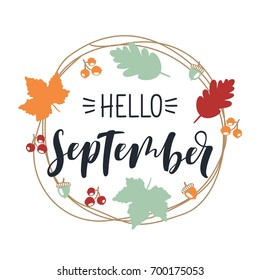 Hand drawn typography lettering phrase Hello, September