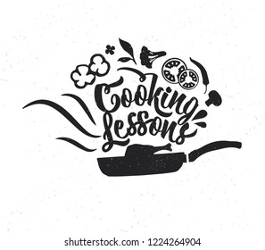 Hand drawn typography poster. Inspirational vector typography. Cooking Lessons . Vector calligraphy