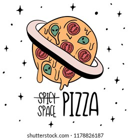 Hand Drawn ufo whole pizza card. Illustrations Drawing Vector Sketch for textile, print, postcard, text, invitation, poster, background, book, t-shirt, wallpaper