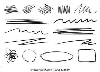Hand drawn underlines on white. Abstract backgrounds with array of lines. Stroke chaotic shapes. Black and white illustration. Sketchy elements for posters and flyers