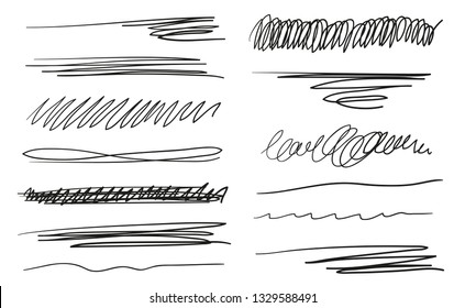 Hand drawn underlines on white. Abstract backgrounds with array of lines. Stroke chaotic patterns. Black and white illustration. Sketchy elements for design