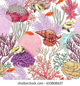 Hand drawn underwater natural elements. Coral reef seamless pattern. Vivid corals, clam and swimming tropical fishes on white background. Undersea bottom texture.