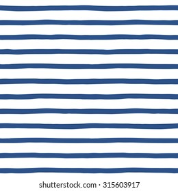 Hand drawn uneven sailor stripes, streaks, bars, strips seamless vector repeat pattern. Navy blue and white striped background. Doodle style sailor vest ornament.