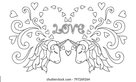 Hand Drawn Unicorn Magical Animal Vector Artwork Black And White Coloring Book