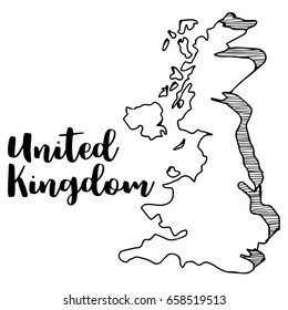Hand drawn of United Kingdom map, vector illustration, vector