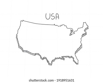 Hand Drawn of United State of America 3D Map on White Background.