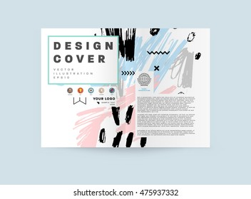 Hand Drawn Universal Art Design Flyers Stock Vector Royalty Free - Art design document