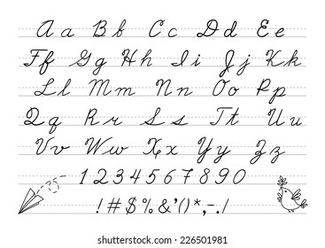 Hand drawn uppercase calligraphic alphabet and number. Cursive letters. Vector illustration.