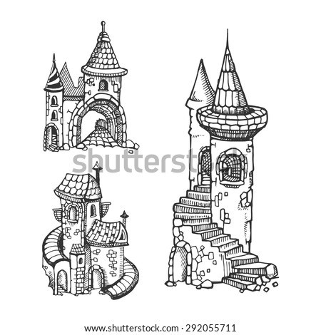 Hand drawn urban graphic template made stock vector royalty free hand drawn urban graphic template made in vector medieval castles set maxwellsz