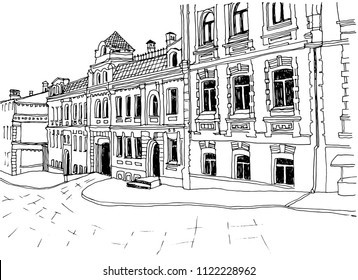 Hand drawn urban landscape. Old European city street. Ink drawing sketch on white background