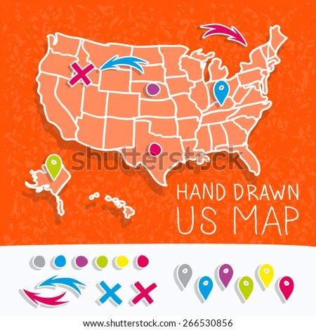 Hand Drawn US Map Map Pins Stock Vector (Royalty Free) 266530856 ...