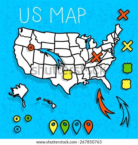 hand drawn us map map pins stock vector royalty free 267850763