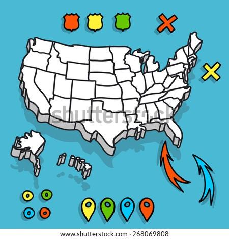 hand drawn us map map pins stock vector royalty free 268069808