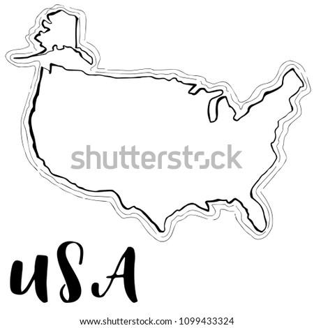 Hand Drawn USA Map Sketchvector Illustration Stock Vector (Royalty ...