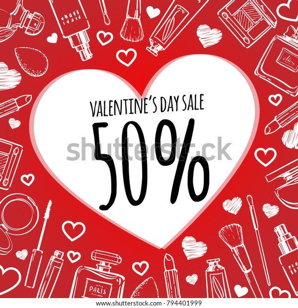 Hand Drawn Valentine Day Sale Banner Stock Vector (Royalty