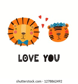 Hand drawn Valentines day card with cute funny lion, tiger, hearts, text Love you. Isolated objects on white background. Vector illustration. Scandinavian style flat design. Concept for children print