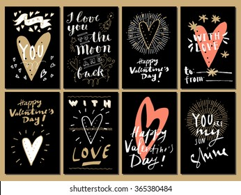 Hand drawn Valentine's Day cards. For You, I Love You to The Moon and Back, You Are Awesome, You Are My Sunshine, With Love.  Modern calligraphy, hand lettering