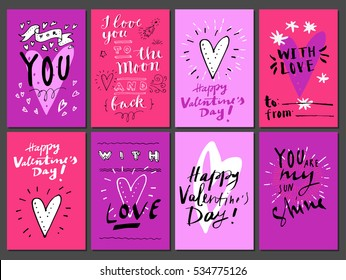Hand drawn Valentine's Day cards. For You, I Love You to The Moon and Back, You Are Awesome, You Are My Sunshine, With Love. Vintage artistic greeting cards with hearts. Modern calligraphy, lettering