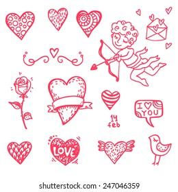 Hand drawn Valentine's day icons big doodle set. Part 1.