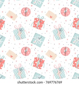 Hand drawn Valentine's Day romantic seamless pattern with cute gift box, presents, hearts, love and more. Vector illustration background in pink blue, red and white colors