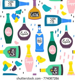 Hand drawn various bottles of alcohol and abstract spots in unique trendy style. Vector seamless pattern