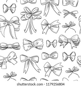 Hand drawn various bow ties. Black and white vector seamless pattern
