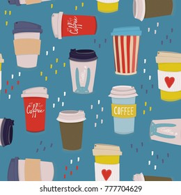 Hand drawn various coffee cups. Vector seamless pattern. Blue background