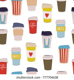 Hand drawn various coffee cups. Vector seamless pattern