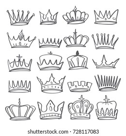 Hand drawn Various crowns set, vector illustration doodle style.