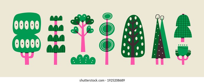 Hand drawn various green and purple Trees. Abstract different shapes. Trendy Vector illustration. Cartoon style. Various textures. All elements are isolated