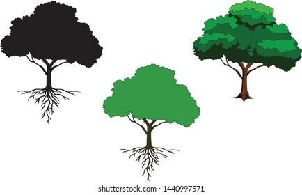 Hand drawn various icons of isolated trees with roots. Element for decoration, emblems, logo