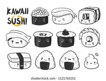 Hand drawn various kawaii sushi. Black and white vector set. All elements are isolated