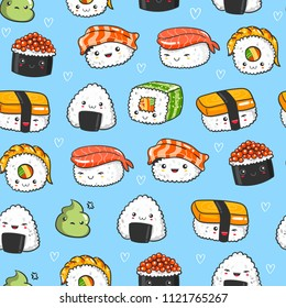 Hand drawn various kawaii sushi. Colored vector seamless pattern. Blue background